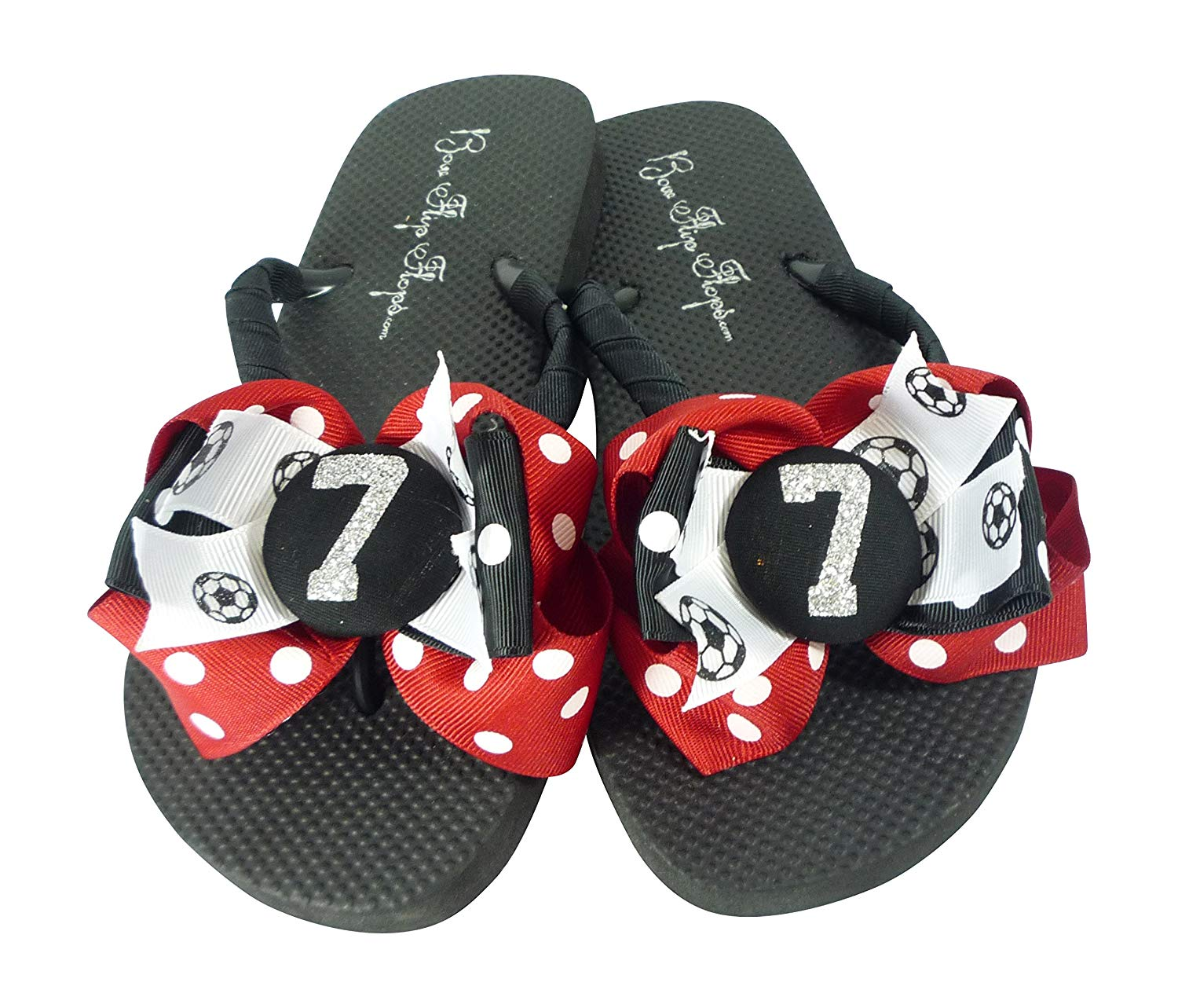 055c94b2aeb134 Get Quotations · Soccer Glitter Bow Flip Flops - Red and Black with Player  Number for Women