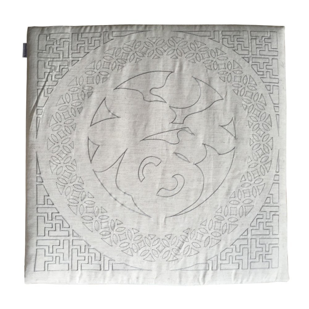 "Nobildonna 24""x24""x1"" Linen Gray Embroidery Chinese Character FU Square Floor Cushions Meditation Cushion Chair Pads"