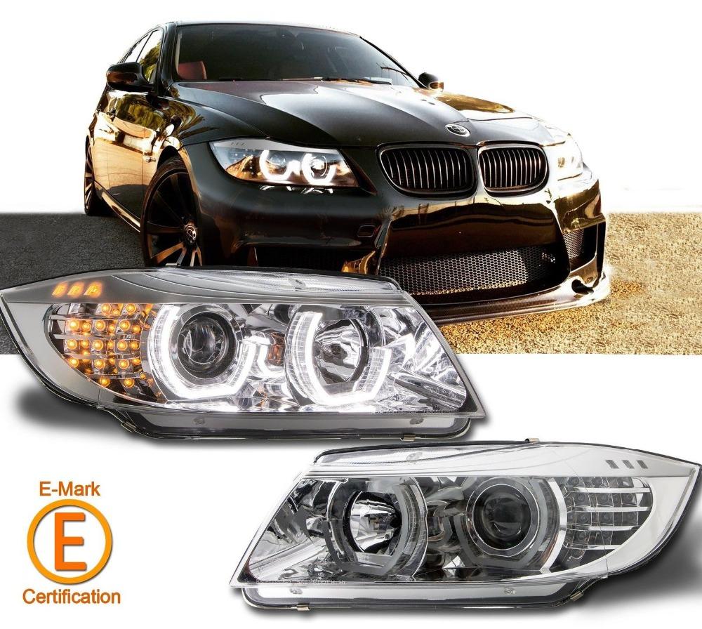 silver ceja dtm halo proyector faros para bmw e e led lmpara principal