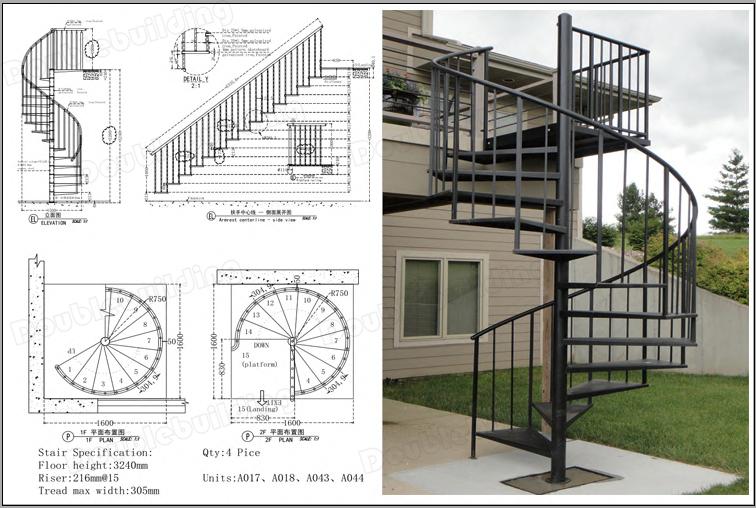 Outdoor verzinken staal wenteltrap metalen helix trappen ontwerp