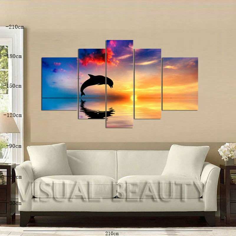5 Panel Canvas Art Printing/dolphin Print From Photo/group ...
