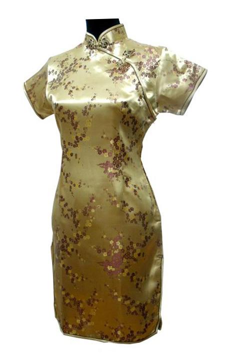 bcf461e01 Get Quotations · Fashion Gold Chinese Lady Rayon Qipao Top Mandarin Collar  Cheongsam Button Dress Plus Size S M L XL