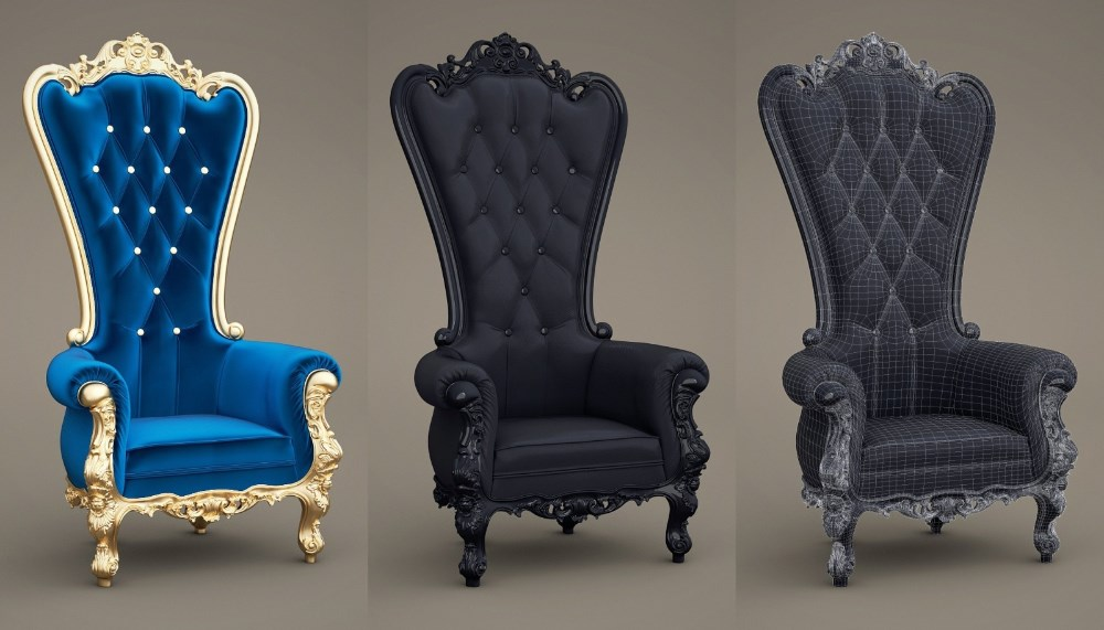 Royal throne high back wedding chair black wood queen for Big chairs for sale