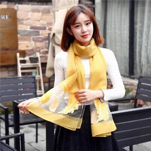 2018 New Fashion Feather Pattern Embroidered Shawl Latest Design 100% Silk Scarf For Women