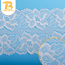 Fashion Jacquard White embriodered Scallop Lace Trim Fabric For Lingerie