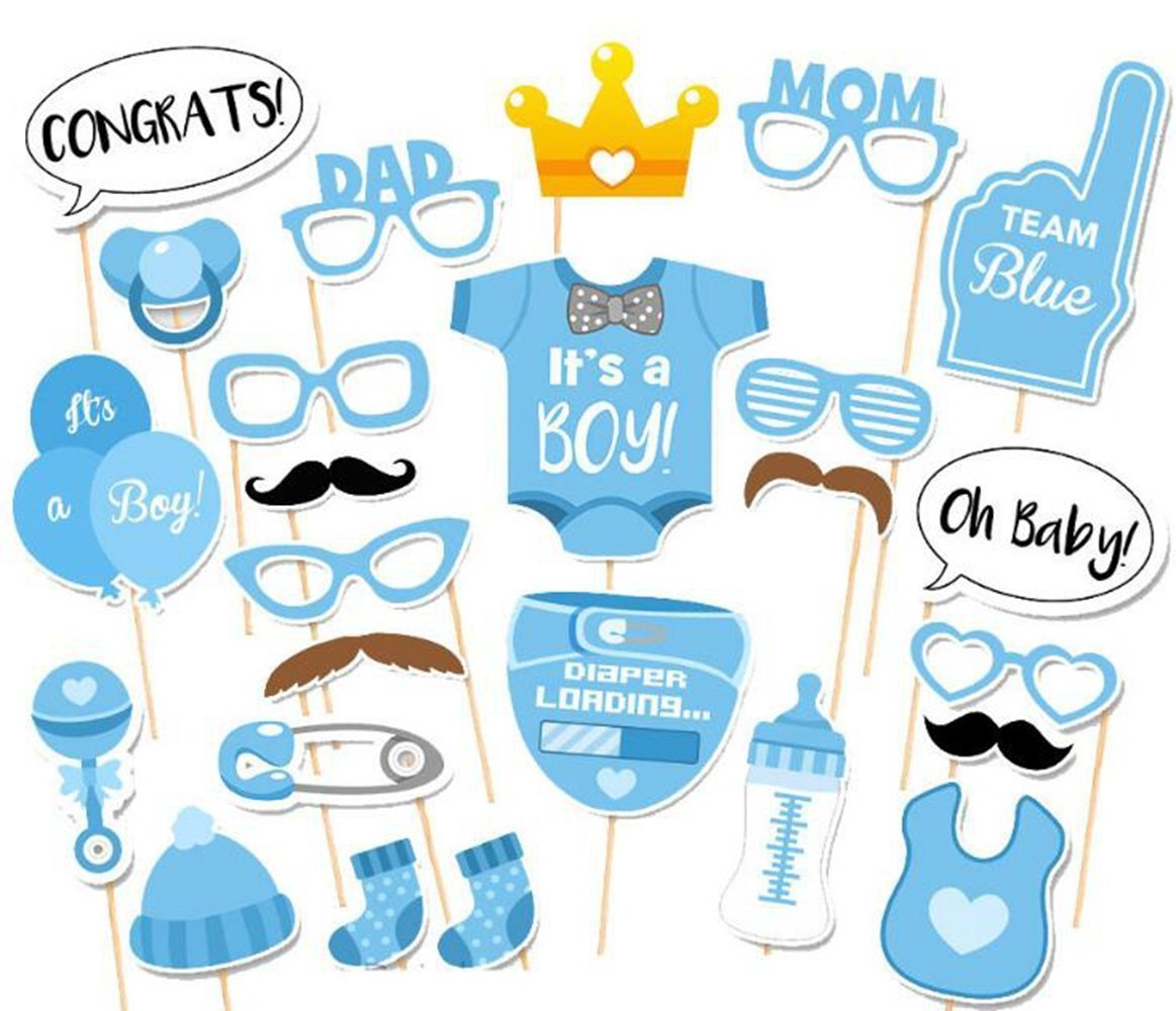 It's A Boy Baby Shower Party Photo Booth Props Kits on Sticks Set of 25pcs
