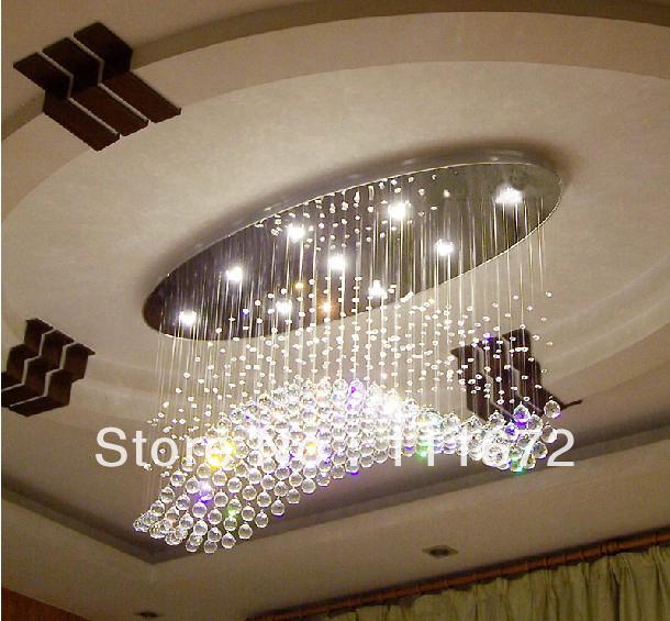 acheter gros encastr ovale moderne lustre en cristal lampe l750 w300 h650mm. Black Bedroom Furniture Sets. Home Design Ideas