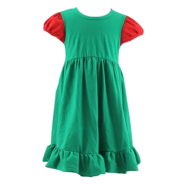 2017 New Arrival Baby Girl Summer Solid Fashion Ruffled 100% Cotton Christmas Dresses with SGS Certifficate