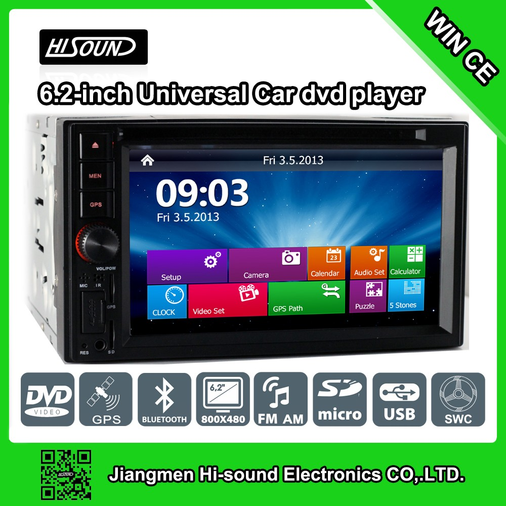 2DIN Good quality 6.2'' touch screen car dvd player universal with remote control