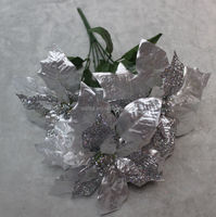 5 heads silver color artificial glitter christmas flowers