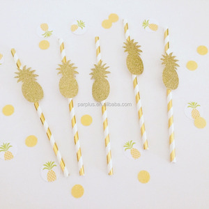 Summer Tropical Party Pineapple Paper Drinks Straws