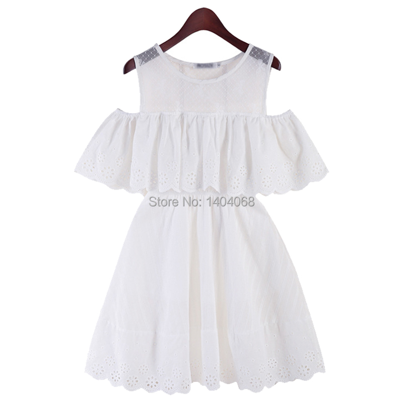 87a163bff7 Get Quotations · 5XL Plus Size Women Summer Style Dress Ruffles Off The  Shoulder Lace Mesh Patchwork White Linen