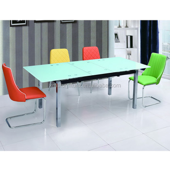 Modern Home Furniture Glass Square Metal Legs 6 Seater Dining Table