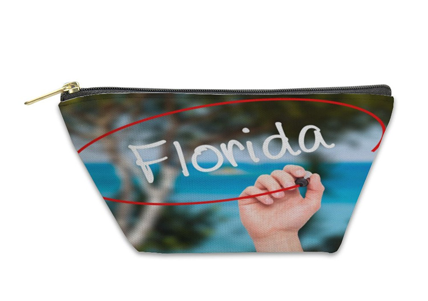 Gear New Accessory Zipper Pouch, Man Hand Writing Florida With Black Marker On Visual Screen, 5917333GN