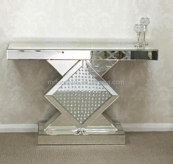 Ordinaire Diamond Accent Mirrored Floating Crystal Console Table Furniture