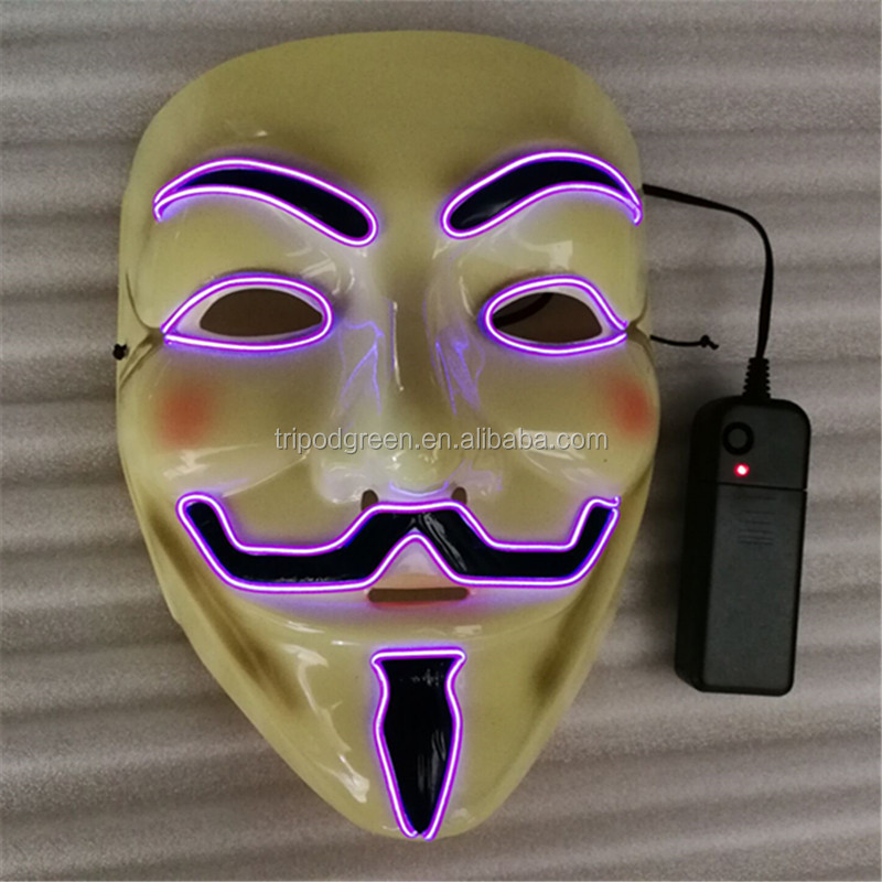 Glowing Neon El Wire Mask for Halloween Party Mask