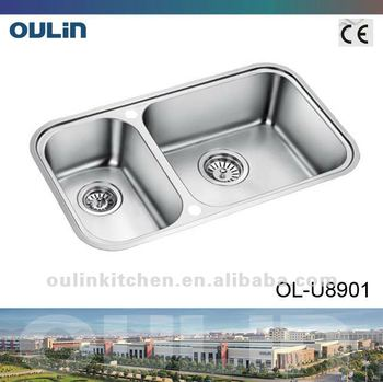 oulin stainless steel sink undermount sink clips double bowl olu8901