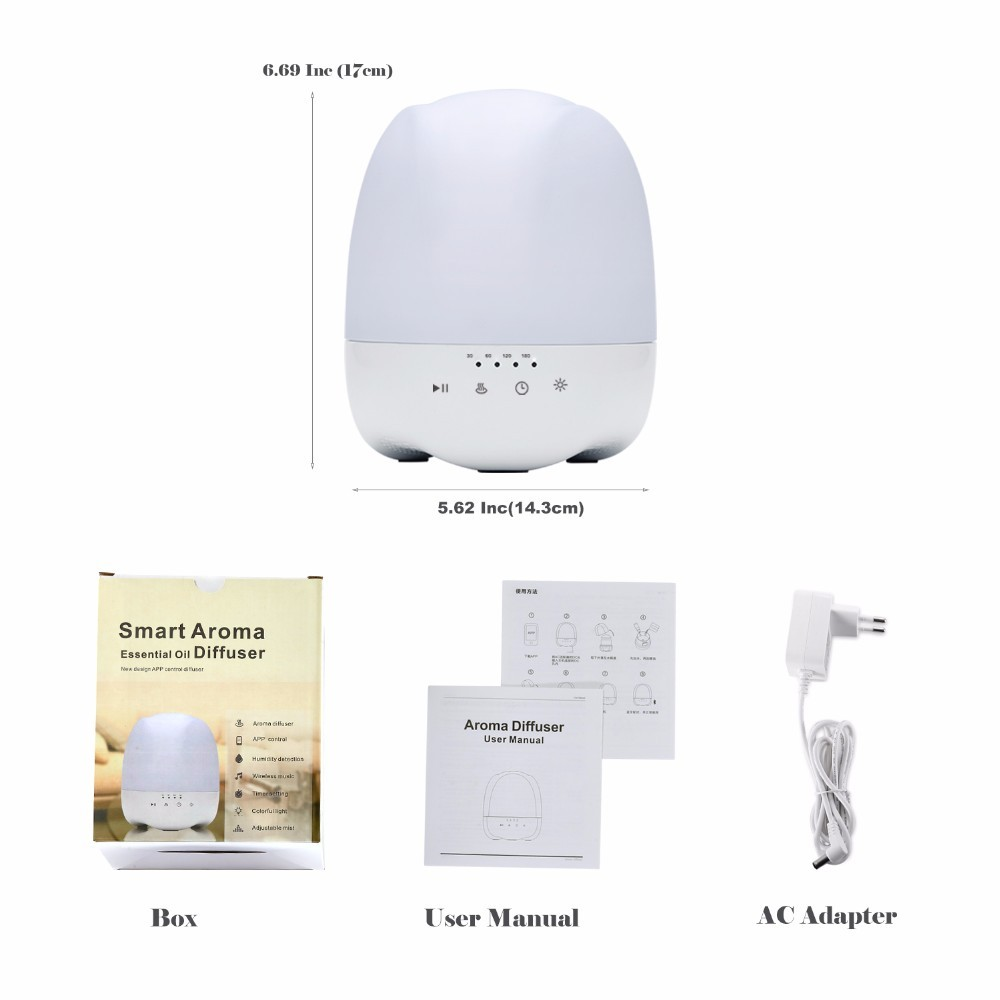300ml Bluetooth Diffuser Essential oil Aroma Diffuser With Alarm Clock (3)