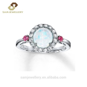 Fashion Halo Cubic Zircon 925 Sterling Silver with Round Opal Stone Ring for Women Jewelry