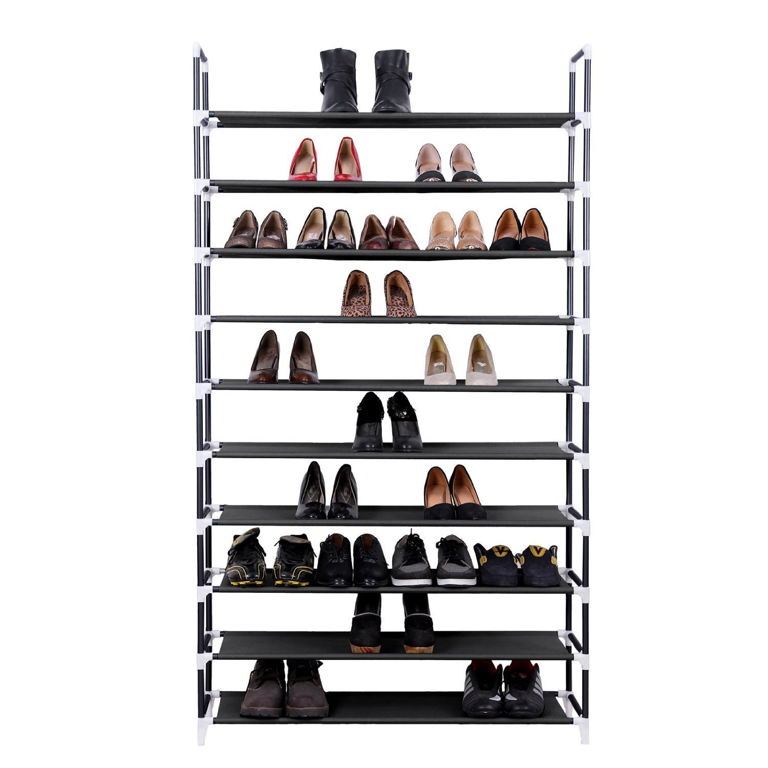 Gexler 10 Tiers Shoe Rack 50 Pairs Non Woven Fabric Shoe Tower Storage  Organizer, Black