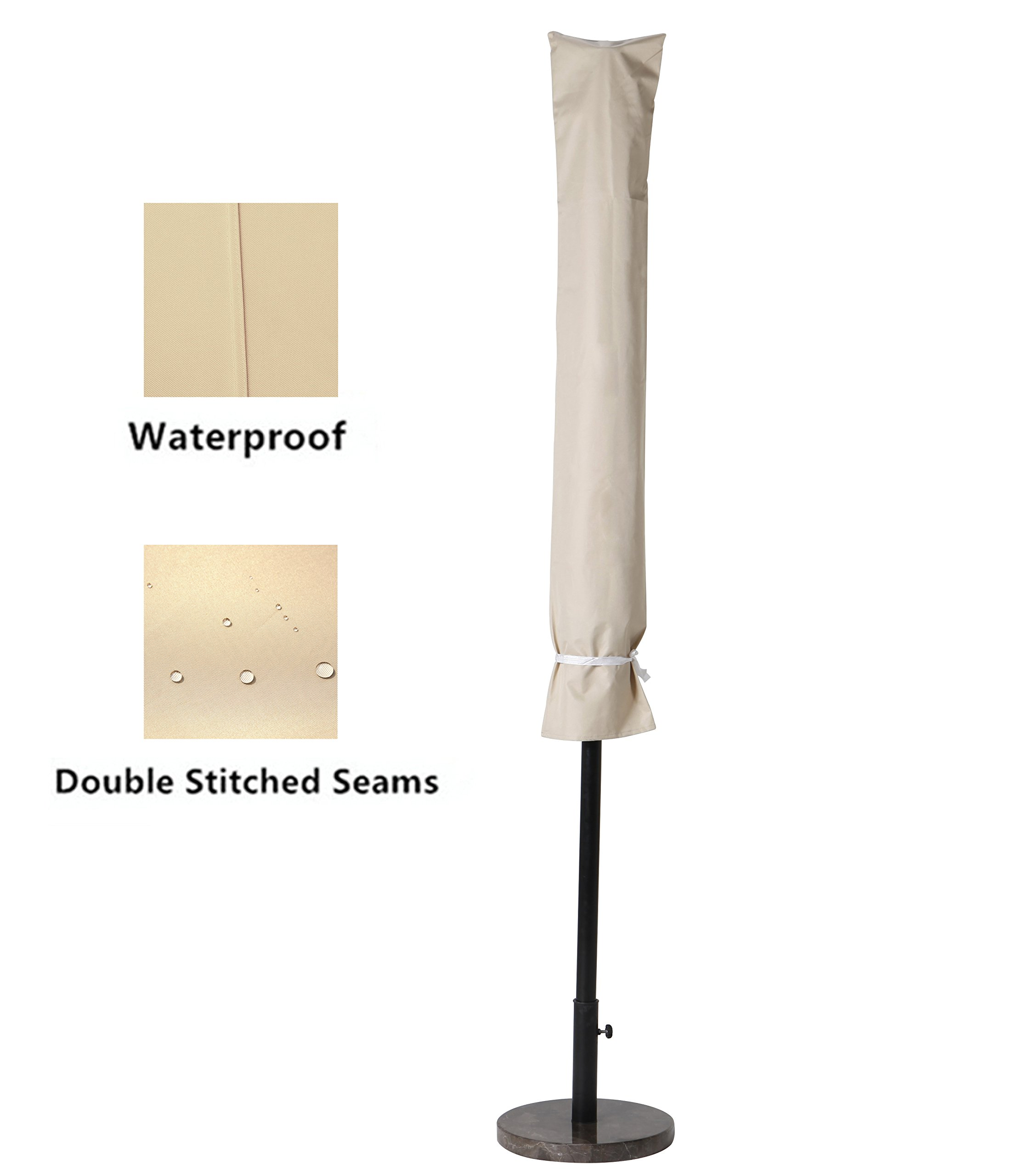 Grand patio Weather-Resistant Patio Umbrella Cover for 9 to 10.5 FT Patio Umbrellas, Waterproof and Durable Market Umbrella Cover, Beige