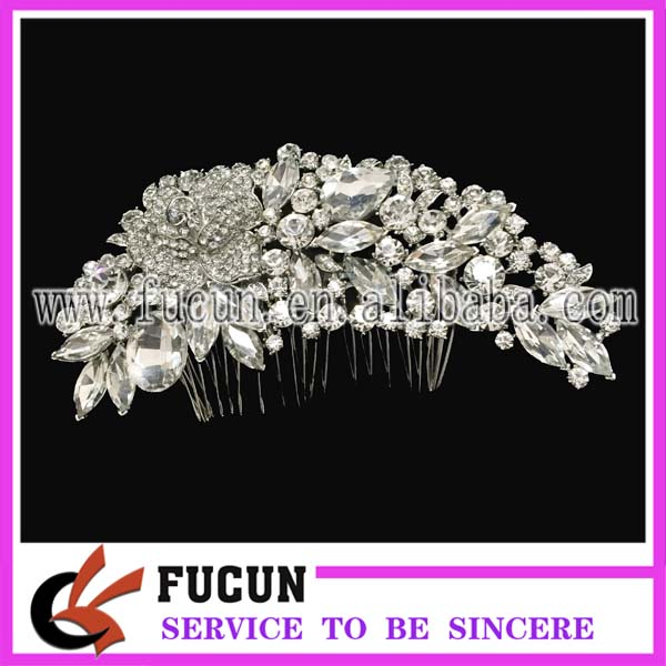 High Quality Flower Shape Crystal Rhinestone Hair Comb Bright Nickel Rhinestone Bridal Comb