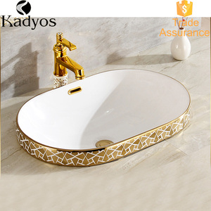 Gold-plated corner basin, wash basin for bathroom KD-14GBA