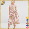 SHANGYI fashion new design summer floral print embellished chiffon ladies dress
