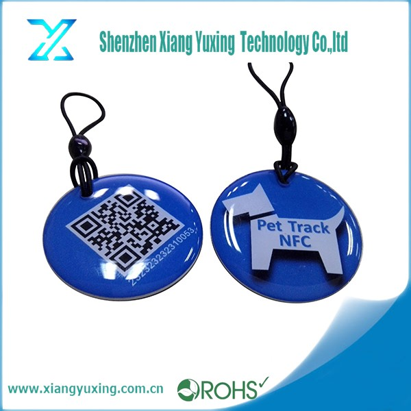 Customized animal identification13.56mhz QR code printed rfid epoxy nfc dog tag