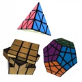 3pcs Set Shengshou Pyraminx Megaminx Mirror Black Magic Speed Twist Puzzle Bundle Pack Cube PVC Matte