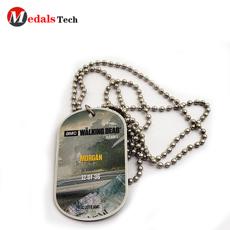 Custom fashion printing logo metal military dog tag with ball chain