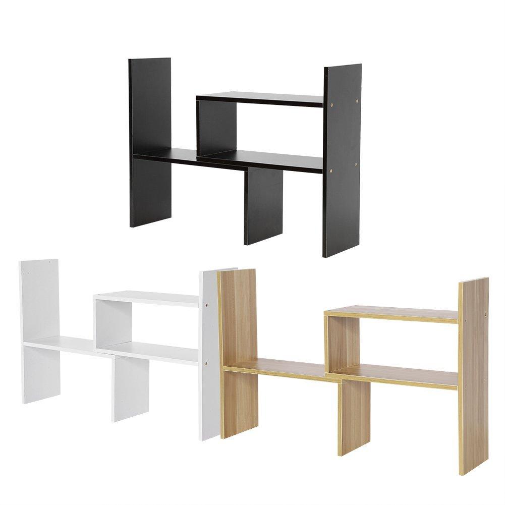 DIY Table Desktop Storage Rack Display Shelf Organizer Counter Top Fashion Active Bookcase Magazine Holder Home Office Use Book Holder (Wood Color)