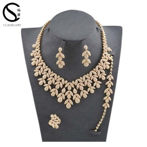 Fashion Design Big Costume Sterling Silver Jewelry Set For Wedding