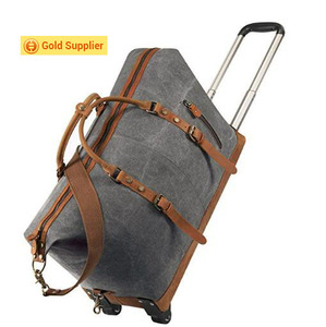 Leather Trim Canvas Wheeled travelling bags luggage Rolling 4 wheel spinner luggage Duffel Bag for mam and women
