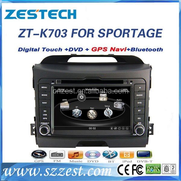 Windows CE 6.0 system dashboard placement car audio for Kia sportage car stereo with automobile dvd mp4 video player blue film