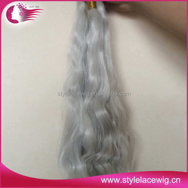 Grade 7A virgin brazilian hair extensions grey human silver hair weaving