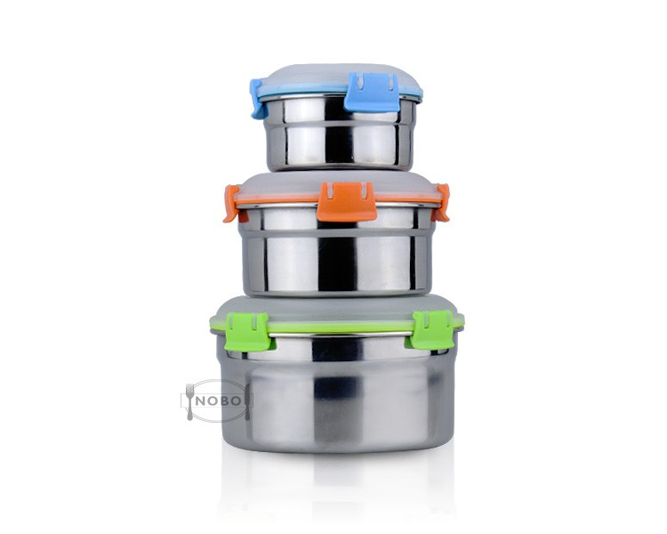 Hot sale stainless steel airtight food storage container with plastic lid