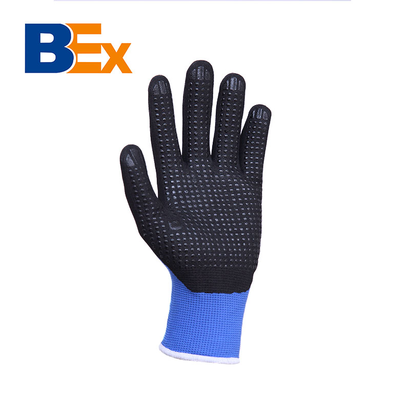 Top products nylon liner micro-foam nitrile coating dots on palm safety gloves