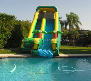 large inflatable pool slide jungle theme giant inflatable pool slide - Inflatable Pool Slide