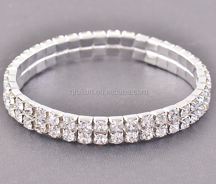9086b48f2a19e Chunky Clear Fake Diamond 6 Row Stretch Tennis Wedding Party Bracelets -  Buy Fake Diamond Bracelet,Stretch Tennis Bracelet,Chunky Diamond Bracelets  ...
