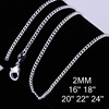1 Piece Free Shipping 2MM 16-24Inch Nice Silver Plated Smooth Snake Men/Women Necklace Chain with Lobster Clasps Heavy Jewelry