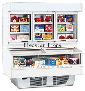 Open top freezer with glass front, equipped with a refrigerator or freezer upper structure