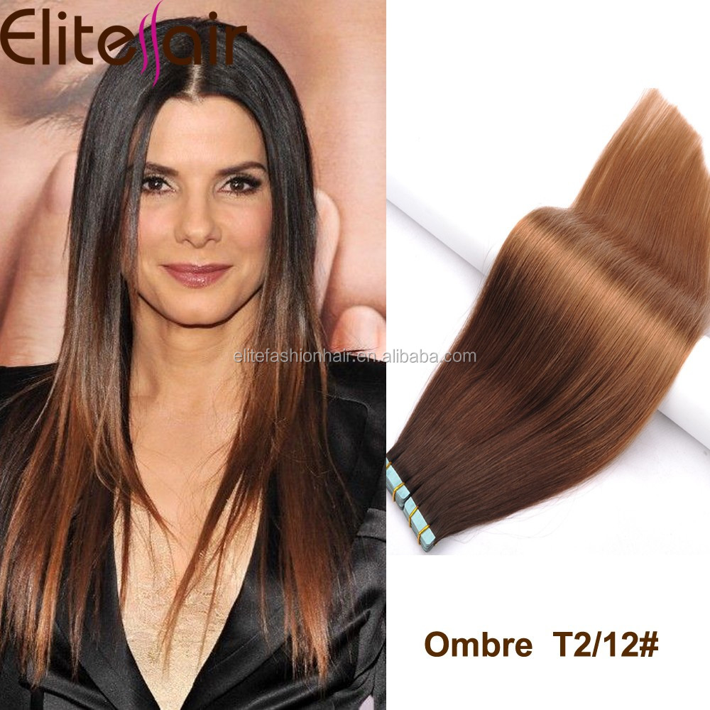 Full Cuticle Ombre Straight Tape Hair Extension Remy Brazilian Hair Extension Human With Double Drawn