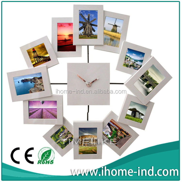 2015 new design antique display picture photo frame digital wall clock