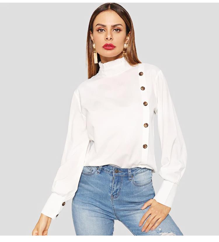 2019 Fashion elegant women clothes Asymmetric Shoulder cotton black lantern sleeve blouses with bow tie front