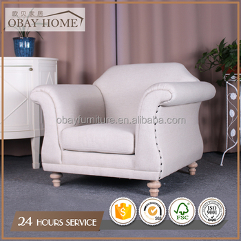 French Rustic Traditional Antique Armchairs single seat Fabric sofas for living room