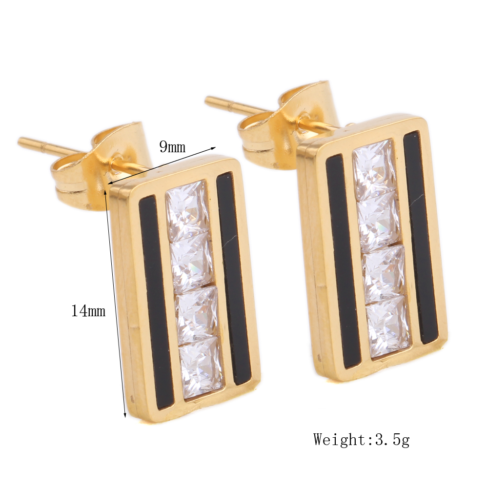 Square Zircon Crystal For Stud Women Earring Stainless Steel Gold Color Fashion Jewelry Earring