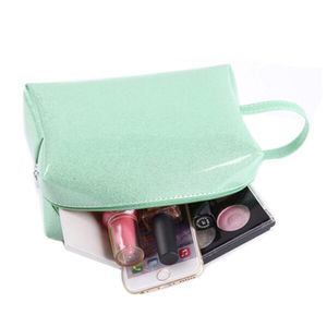 Wholesale marble printed genuine leather cosmetic bag for ladies travel makeup bags leather pouch