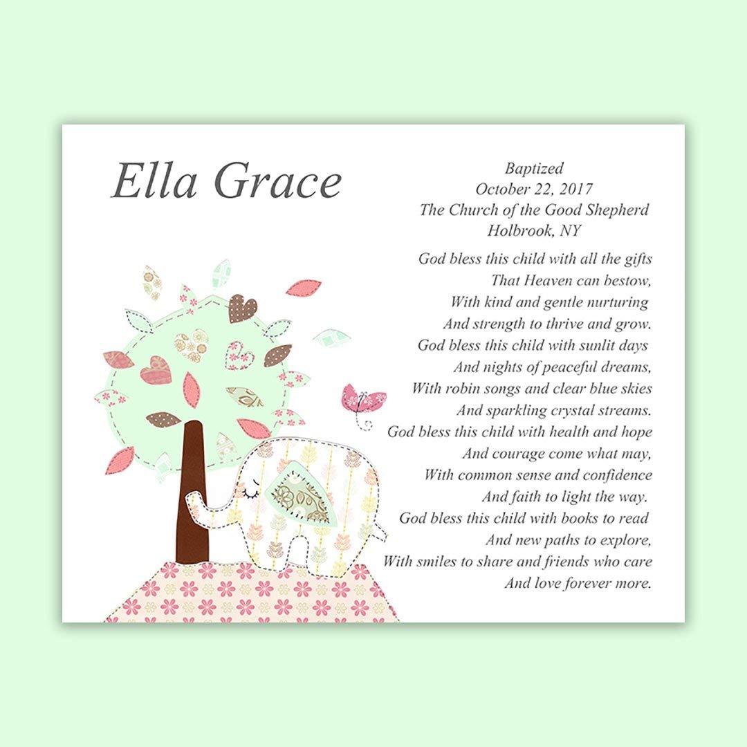 Baby Girl Gift -Baptism Gift - Personalized - Christening Gift for Godchild - Elephant - Baby Shower - Tree - Aqua and Pink - Nursery Art - Dedication - Baptism Gift from Godparents - PRINT