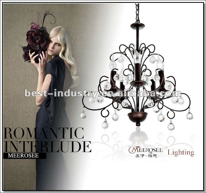 Modern Franch Style Crystal Chandelier, Beautiful Black Iron Chandelier Graceful Design Lighting